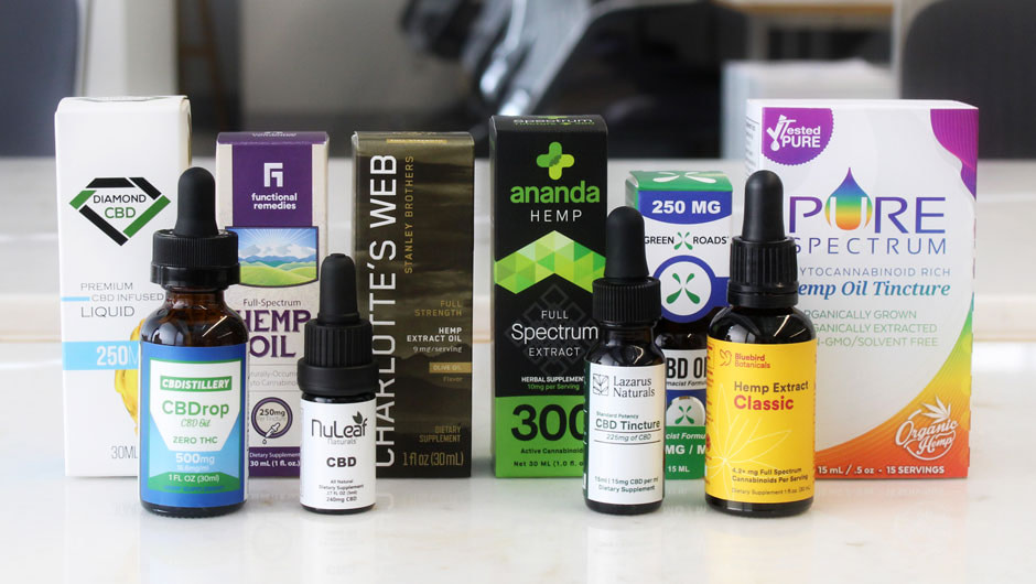 CBD oil tinctures from different brands